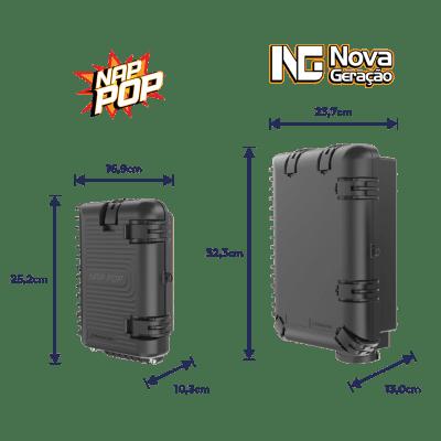Caixa Terminal Óptica CTO 1x4 SC APC NAP POP com Splitter Desbalanceado 1x2